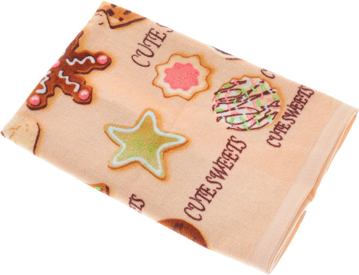 Полотенце кухонное Soavita Печенье, цвет: бежевый, 40 х 60 см полотенце кухонное soavita цвет коралловый диаметр 65 см 48800