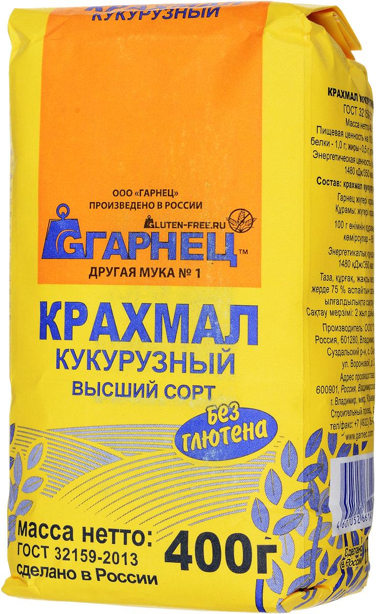 Гарнец кукурузный крахмал, 400 г4607052661416Кукурузный крахмал - это белый не особо прозрачный клейстер, имеющий невысокую степень вязкости. Запах и привкус крахмала характерны для зерна кукурузы. В результате сушки он становится сыпучим веществом, порошком белого цвета с едва уловимым желтым оттенком. Основными свойствами крахмала кукурузного можно назвать повышенную способность к набуханию даже в холодной воде. Калорийность кукурузного крахмала немного выше картофельного.
