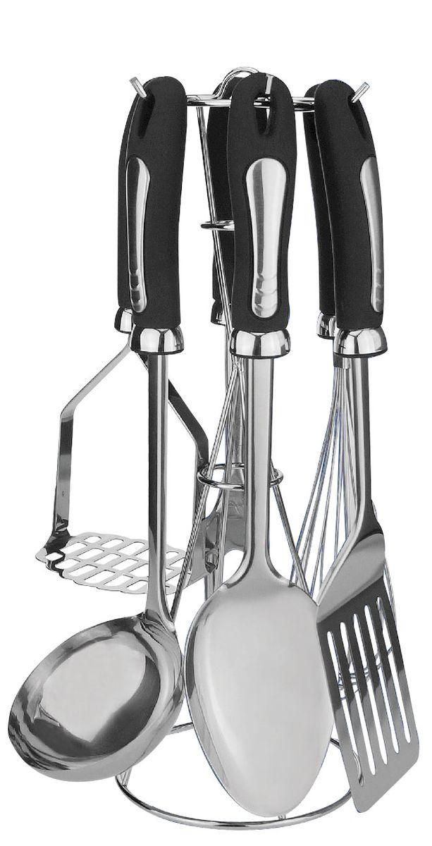Набор кухонных принадлежностей Bohmann, 7 предметов. 7789BH/NEW7789BH/NEWНабор кухонных принадлежностей Bohmann станет отличным дополнением к комплекту кухонной утвари. Приборы удобны и функциональны в применении, используются для переворачивания кусков мяса, рыбы и овощей во время жарки, разливания супов и бульонов, съема пены, приготовления пюре, раскладывания общих блюд по порционным тарелкам, приготовления кремов и омлетов и т.д. Кухонные принадлежности выполнены из высококачественной нержавеющей стали. Изделия имеют не нагревающиеся ручки. Можно мыть в посудомоечной машине.