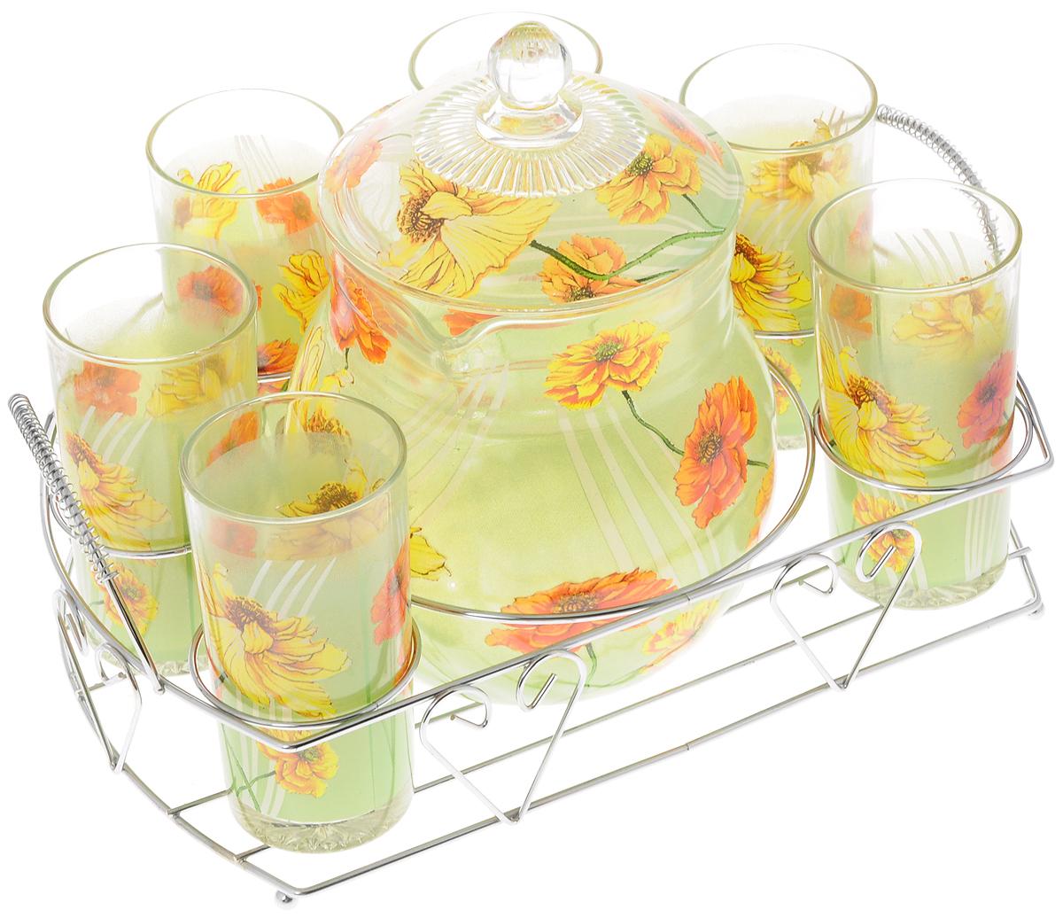 """Набор Bekker """"Маки"""" состоит из шести высоких  стаканов и графина с крышкой. Посуда выполнена из  высококачественного стекла в элегантном дизайне с  рисунком в виде цветов. Предметы набора  располагаются на изящной металлической подставке с  двумя ручками.  Благодаря такому набору пить напитки будет еще  вкуснее. Он украсит сервировку стола, а также станет  отличным подарком на любой праздник. Предметы набора можно мыть в посудомоечной  машине. Высота стенки графина: 14 см. Диаметр графина по верхнему краю: 11,5 см. Объем графина: 1,6 л. Диаметр стакана по верхнему краю: 6 см. Высота стакана: 12 см. Объем стакана: 252 мл.  Размер подставки: 30 х 23,5 х 11 см."""