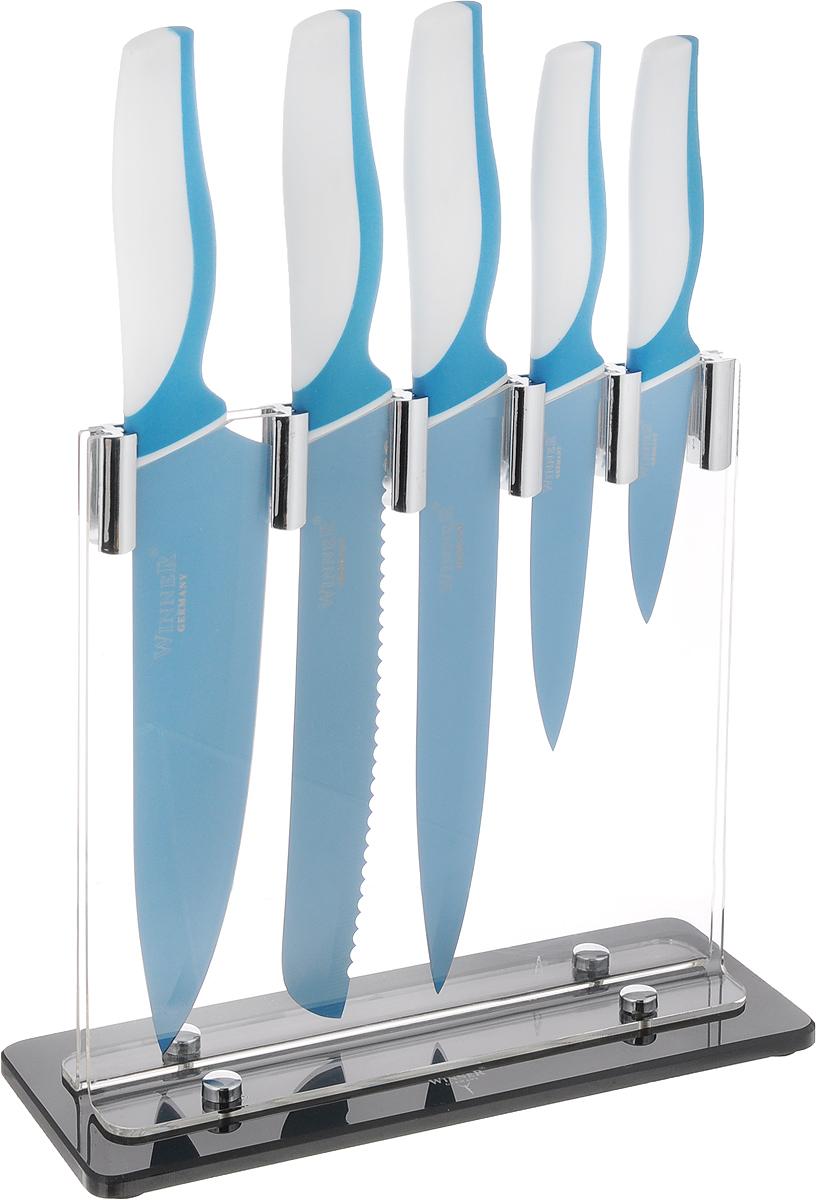 """Набор """"Winner"""" состоит из ножа поварского, ножа для  резки хлеба, ножа для тонкой нарезки, ножа  универсального и ножа для чистки овощей. Ножи  изготовлены из высококачественной нержавеющей стали  с цветным полимерным покрытием Xynflon. Ножи имеют  острые лезвия, а благодаря специальному покрытию они  держат заводскую заточку в несколько раз дольше, чем  обычные стальные ножи. Продукты, которые вы  нарезаете такими ножами, не прилипают к лезвию ножа,  не вступают в химическую реакцию, не окисляются и не  намагничиваются. Эргономичная рукоятка ножей  выполнена из высококачественного прорезиненного  пластика. Рукоятка не скользит в руках и делает резку  удобной и безопасной. В комплект входит пластиковая  подставка для хранения ножей. Этот набор будет служить вам многие годы при  соблюдении простых правил. Можно мыть в посудомоечной машине.  Общая длина ножа поварского: 32,5 см. Длина лезвия ножа поварского: 20,2 см.  Общая длина ножа для резки хлеба: 32,2 см. Длина лезвия ножа для резки хлеба: 20,3 см.  Общая длина ножа для тонкой нарезки: 32 см. Длина лезвия ножа для тонкой нарезки: 20 см.  Общая длина ножа универсального: 23 см. Длина лезвия ножа универсального: 12,5 см.  Общая длина ножа для чистки: 19,3 см. Длина лезвия ножа для чистки: 8,8 см.  Размер подставки: 24 х 9,5 х 22 см."""