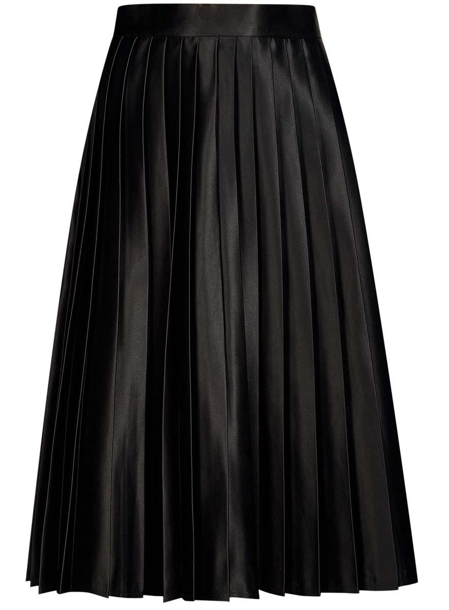 Юбка oodji Collection, цвет: черный. 21606021/24393/2900N. Размер 44-170 (50-170)21606021/24393/2900NЮбка в складку oodji Collection изготовлена из полиэстера - износостойкого не мнущегося быстросохнущего материала и имеет длину миди. Так же изделие обладает средней посадкой на талии и застегивается сбоку на молнию.