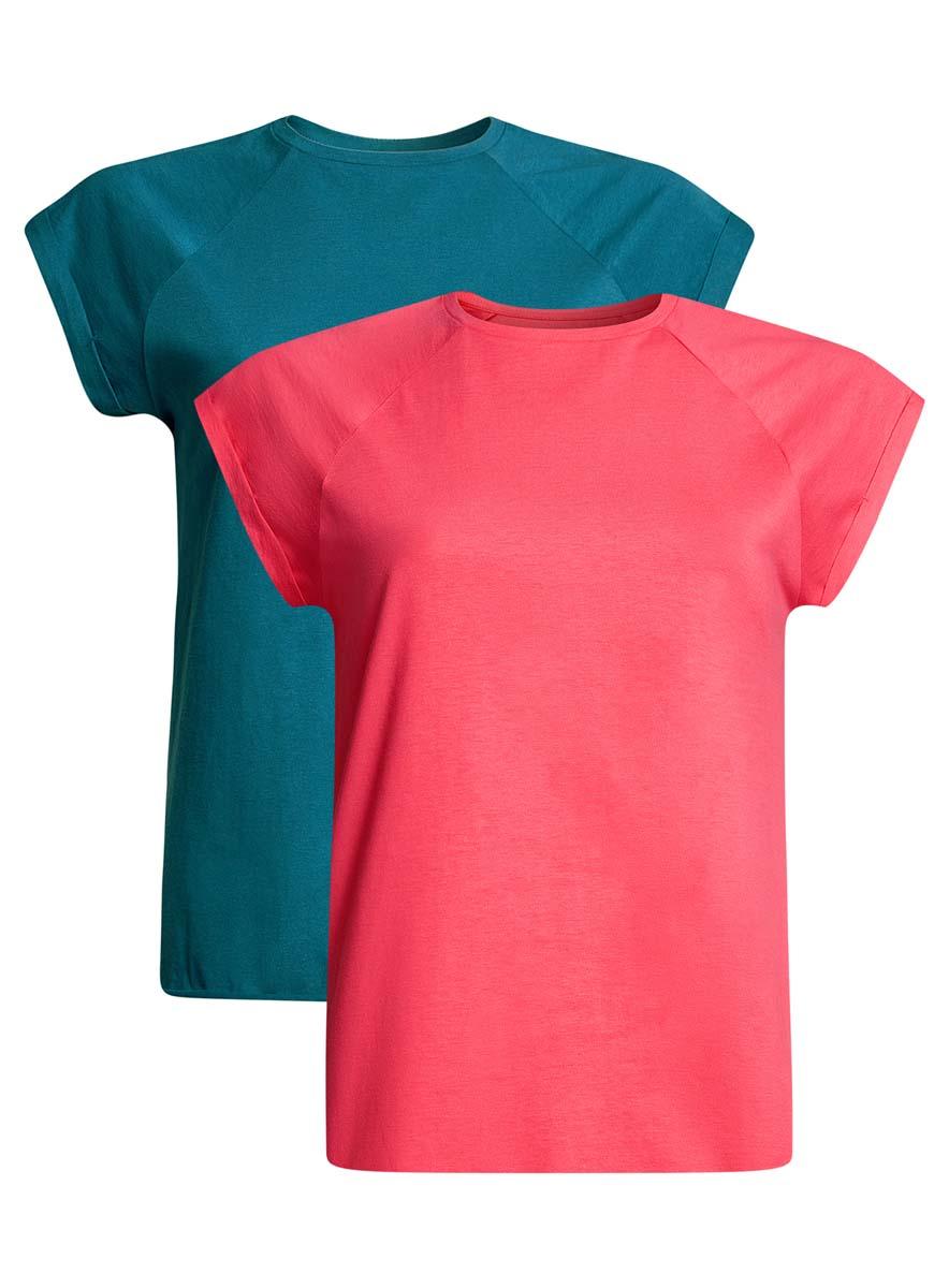Футболка женская oodji Ultra, цвет: бирюзовый, ярко-розовый, 2 шт. 14707001T2/46154/6C4DN. Размер XL (50)14707001T2/46154/6C4DNЖенская футболка свободного кроя oodji Ultra изготовлена из высококачественного натурального хлопка. Модель с короткими рукавами-реглан и круглым вырезом горловины оформлена декоративными отворотами на рукавах. Низ футболки имеет эффект необработанного края. В комплект входят 2 футболки.