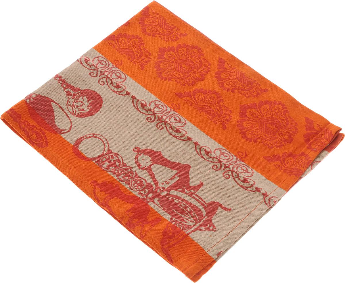 Полотенце для кухни Arloni Классик, цвет: бежевый, оранжевый, 45 х 70 см полотенце для кухни арти м незабудки