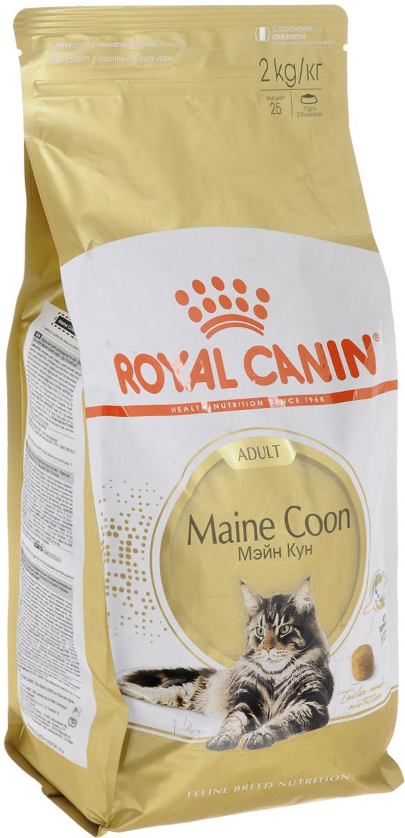 Корм сухой Royal Canin Maine Coon Adult для кошек породы мейн-кун в возрасте старше 15 месяцев, 2 кг. 455020-542020 корм сухой royal canin german shepherd junior для щенков собак породы немецкая овчарка до 15 месяцев 12 кг