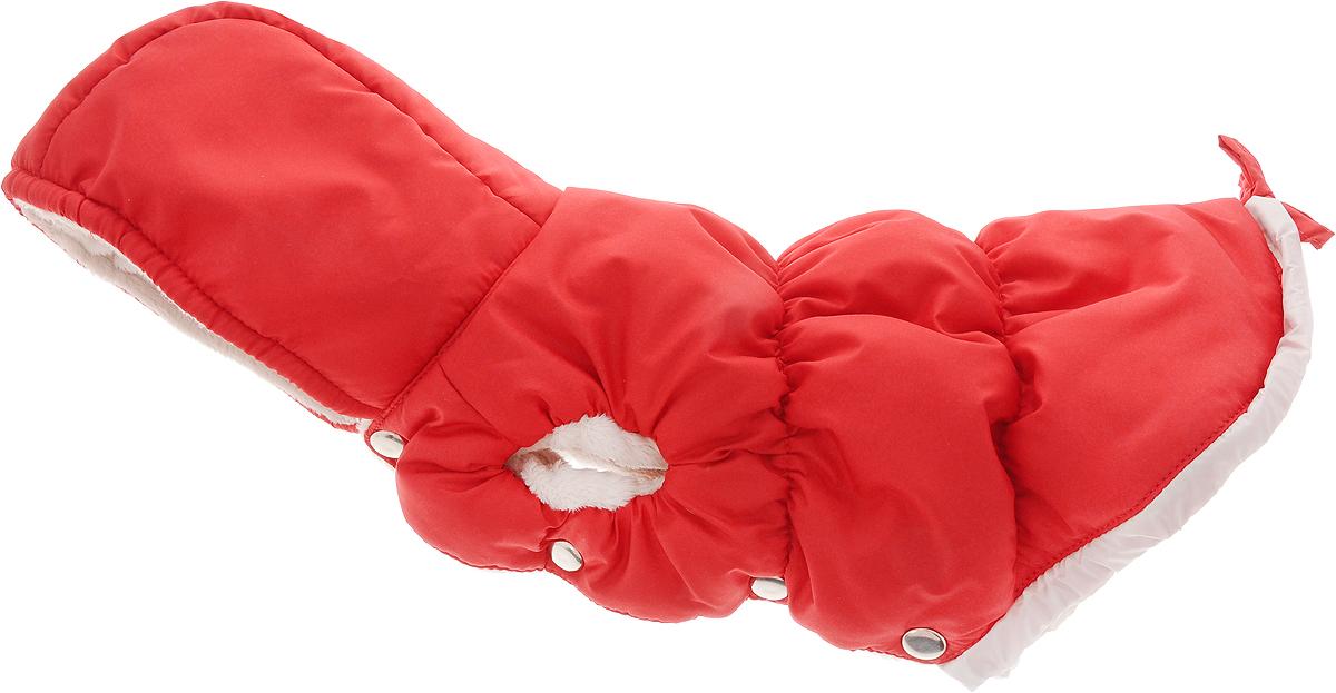 Куртка для собак Dogmoda, зимняя, унисекс, цвет: красный, белый. Размер 3 (L)DM-150348-3_красныйТеплая и удобная куртка для собак Dogmoda отлично подойдет для прогулок в зимнее время года. Куртка изготовлена из водонепроницаемого полиэстера, защищающего от ветра и снега, с утеплителем из синтепона, который сохранит тепло даже в сильные морозы, а в качестве подкладки используется мягкий искусственный мех, обеспечивающий отличный воздухообмен. Куртка с капюшоном застегивается на кнопки, благодаря чему ее легко надевать и снимать. Капюшон не отстегивается и украшен серебристой надписью DM и изображением клевера. Изделие имеет специальные прорези для передних лапок и внутренние резинки, которые мягко обхватывают тело вашего питомца, не позволяя просачиваться холодному воздуху. По низу изделие затягивается на шнурок-кулиску.Благодаря такой куртке простуда не грозит вашему питомцу, и он сможет испытать несравнимое удовольствие от снежных игр и забав.Одежда для собак: нужна ли она и как её выбрать. Статья OZON Гид
