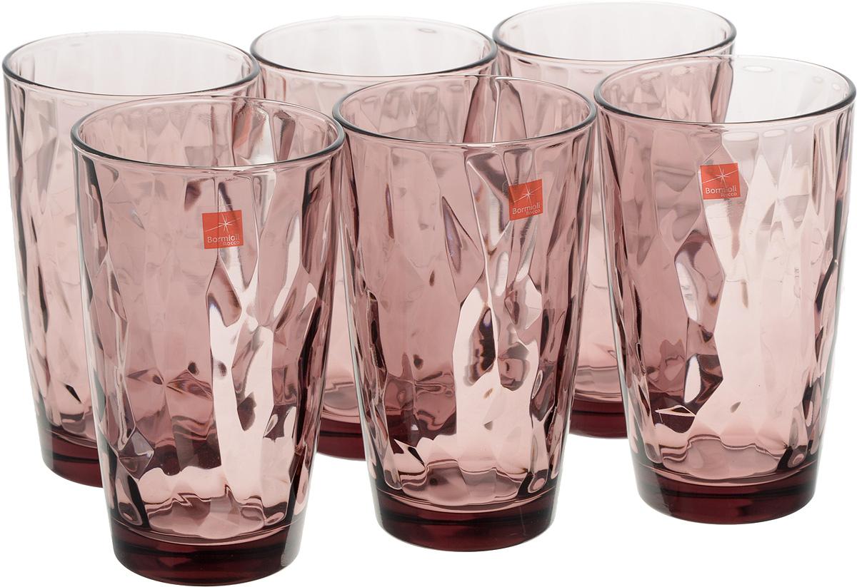 Набор стаканов Bormioli Rocco Даймонд, цвет: фиолетовый, 6 шт350270M02321990Набор Bormioli Rocco Даймонд выполнен из стекла, состоит из 6 высоких стаканов. Стаканы предназначены для холодных напитков. С внутренней стороны поверхность стаканов рельефная, что создает эффект игры и преломления. СтаканыBormioli Rocco Даймонд станут идеальным украшением праздничного стола и отличным подарком к любому празднику.Объем стакана: 470 мл.Диаметр стакана по верхнему краю: 8,5 см.Высота стакана: 14,5 см.