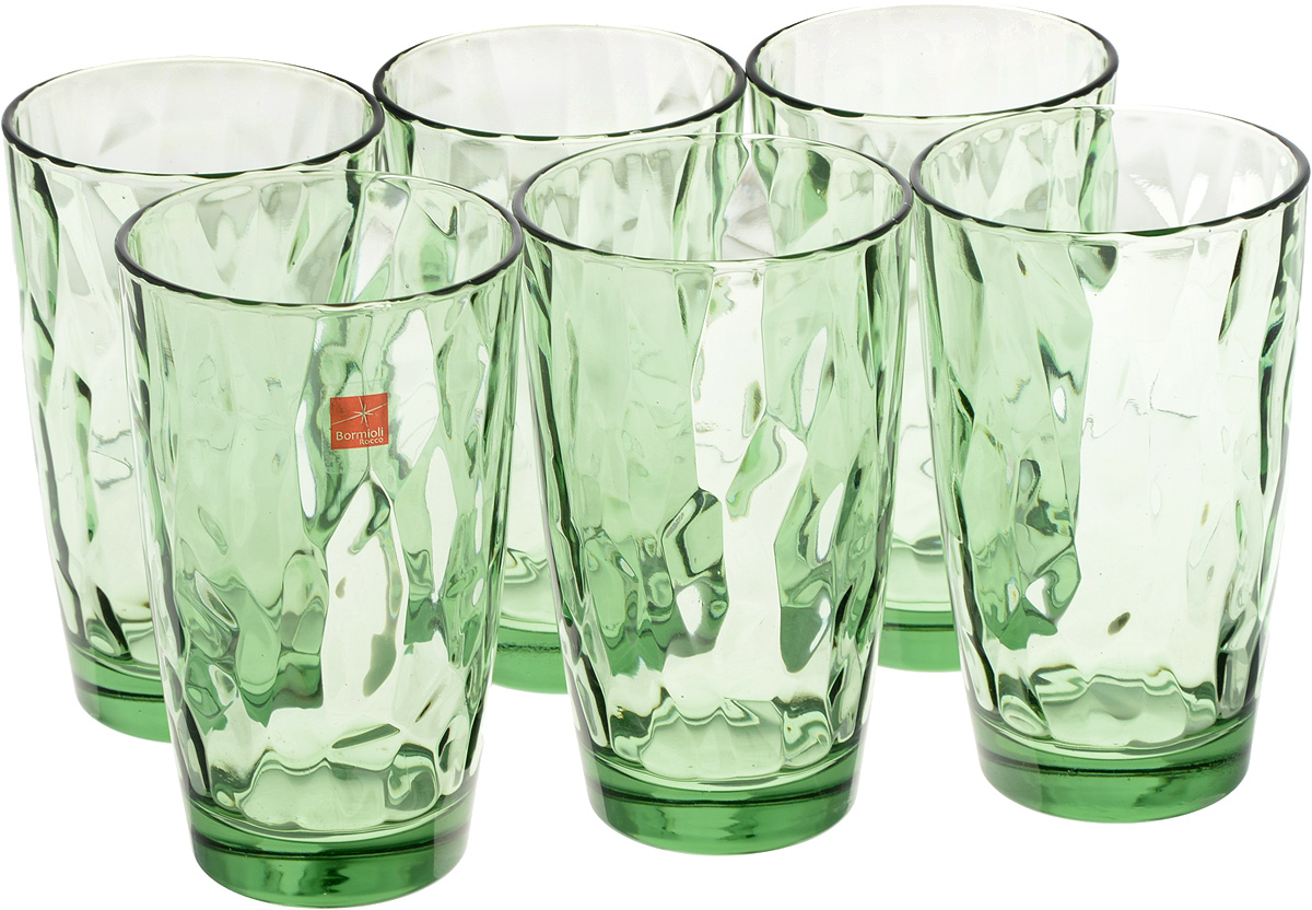 Набор стаканов Bormioli Rocco Даймонд, цвет: зеленый, 470 мл, 6 шт350250M02321990Набор Bormioli Rocco Даймонд выполнен из стекла, состоит из 6 высоких стаканов. Стаканы предназначены для холодных напитков. С внутренней стороны поверхность стаканов рельефная, что создает эффект игры и преломления. Благодаря такому набору пить напитки будет еще вкуснее.СтаканыBormioli Rocco Даймонд станут идеальным украшением праздничного стола и отличным подарком к любому празднику.Объем стакана: 470 мл.Диаметр стакана по верхнему краю: 8,5 см.Высота стакана: 14,5 см.