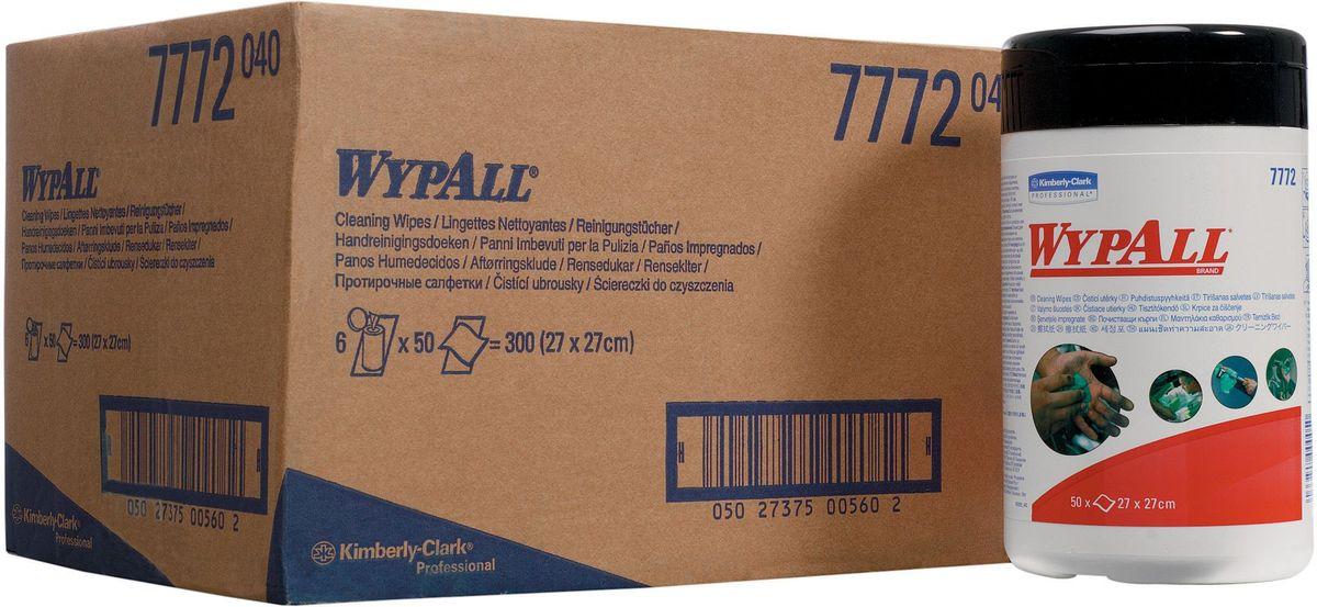 Салфетки абразивные Wypall, с пропиткой, 6 упаковок х 50 шт. 77727772Абразивные влажные салфетки Wypall обеспечивают очистку рук, инструментов, узлов агрегатов без использования мыла, гелей и воды. Не раздражают и не высушивают кожу рук, а также повышают уровень гигиены. Одна сторона салфеток с шероховатой поверхностью - для удаления грязи, вторая - с гладкой поверхностью - для очистки и окончательной отделки.В комплекте: 6 упаковок по 50 салфеток.Размер салфетки; 27 х 27 см.