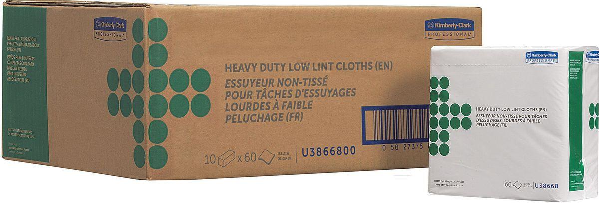 Салфетка Kimberly-Clark Professional, 10 упаковок х 60 шт. 3866838668Протирочный материал Kimberly-Clark Professional выполнен в виде салфеток и предназначен специально для аэрокосмической отрасли, а также рекомендован к использованию в таких отраслях как металлургическая, нефтеперерабатывающая, газовая промышленность и автомобилестроение. Продукция соответствует требованиям авиапроизводителей Boeing и Airbus, нормам AMS 3819C и BMS 15-5F. Салфетки могут быть использованы в системах для влажной уборки Kimberly-Clark 7969. В наборе: 10 упаковок по 60 салфеток.
