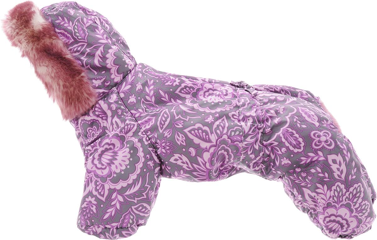Комбинезон для собак Dogmoda Winter, зимний, для девочки, цвет: фиолетовый, серый. Размер 2 (M) догмода футболка с капюшоном для собак dogmoda 1