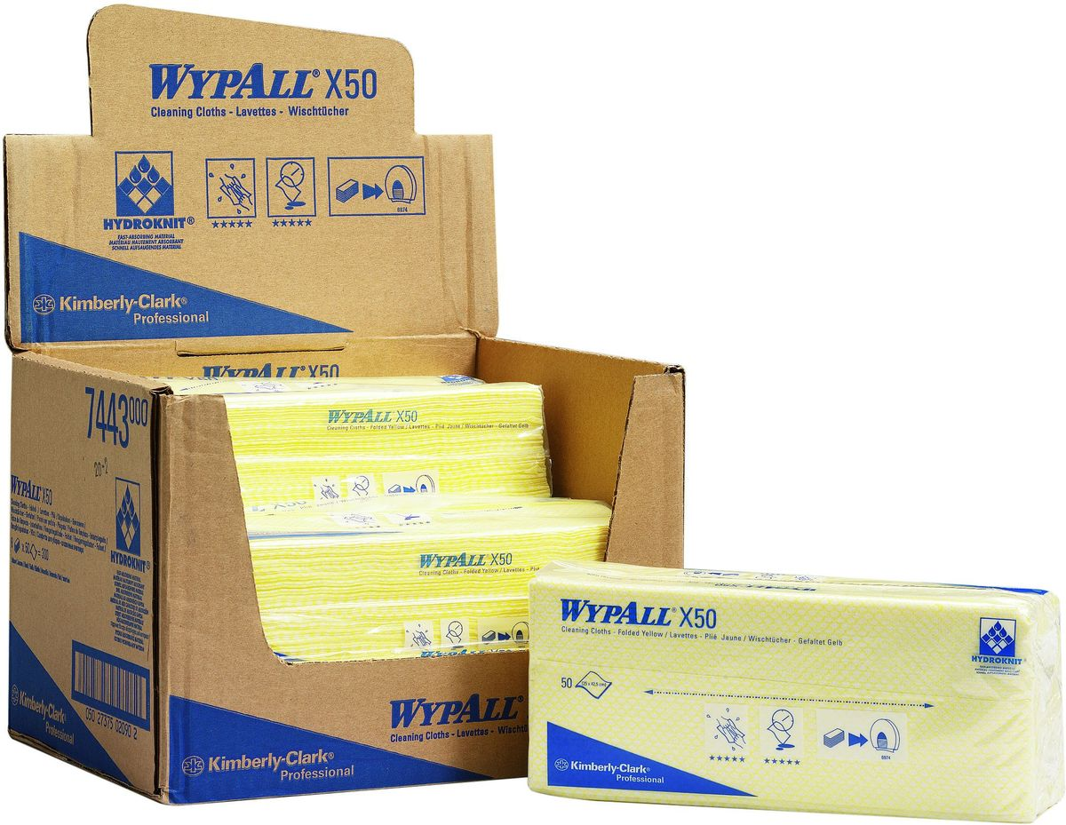 Салфетки для уборки Wypall Х50, цвет: желтый, белый, 50 шт7443Салфетки Wypall Х50, выполненные из целлюлозы и синтетики, предназначены для многоразового использования, изготовленные по технологии HYDROKNIT®. Изделия обладают отличной впитывающей способностью, долговечностью и прочностью, как в сухом, так и во влажном состоянии. Салфетки Wypall Х50 - идеальное решение для гигиеничной уборки в туалетных комнатах, клинических помещениях и палатах пациентов, на кухнях и участках приготовления пищи. Салфетки допускают стирку и повторное использование, что уменьшает объем отходов и сокращает эксплуатационные затраты.Количество салфеток в 1 упаковке: 50 шт.
