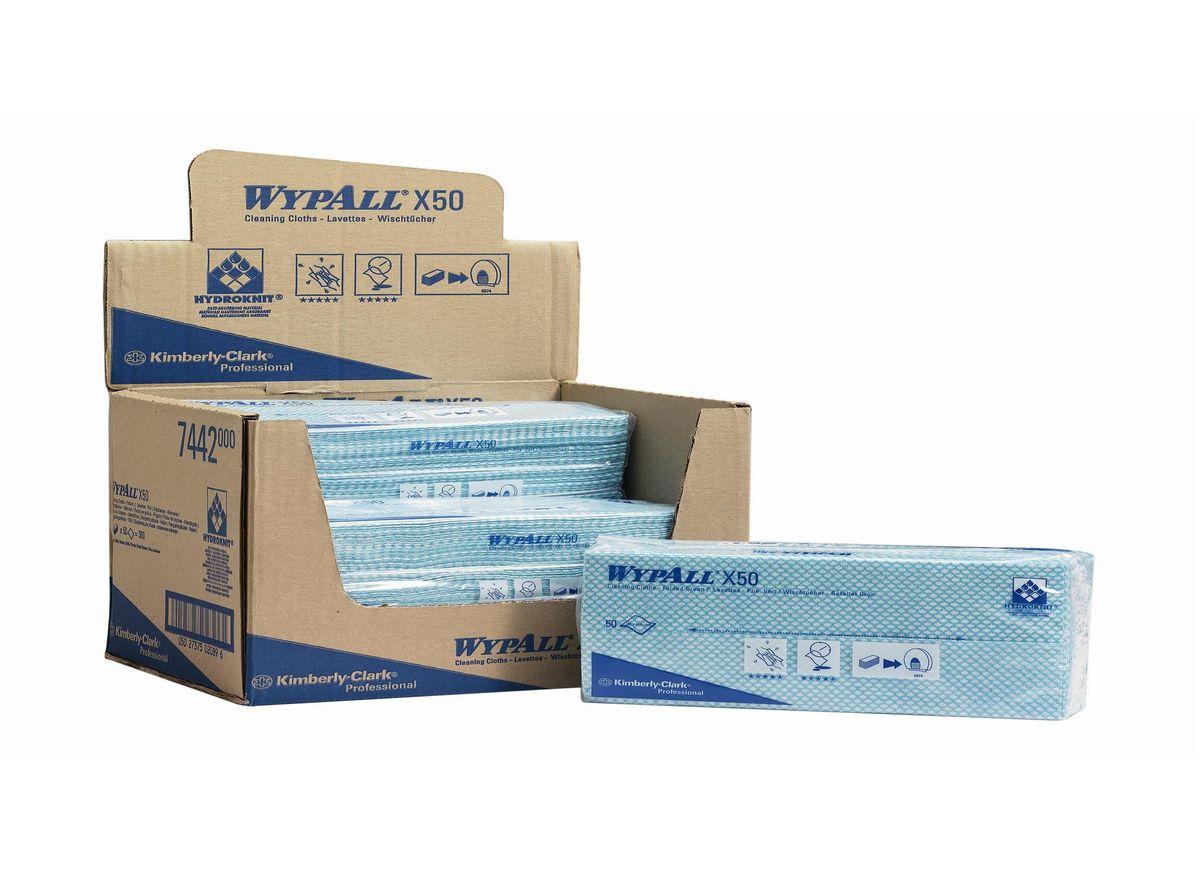 Салфетки для уборки Wypall Х50, цвет: зеленый, белый, 50 шт7442Салфетки Wypall Х50, выполненные из целлюлозы и синтетики, предназначены для многоразового использования, изготовленные по технологии HYDROKNIT®. Изделия обладают отличной впитывающей способностью, долговечностью и прочностью, как в сухом, так и во влажном состоянии. Салфетки Wypall Х50 - идеальное решение для гигиеничной уборки в туалетных комнатах, клинических помещениях и палатах пациентов, на кухнях и участках приготовления пищи. Салфетки допускают стирку и повторное использование, что уменьшает объем отходов и сокращает эксплуатационные затраты.Количество салфеток в 1 упаковке: 50 шт.
