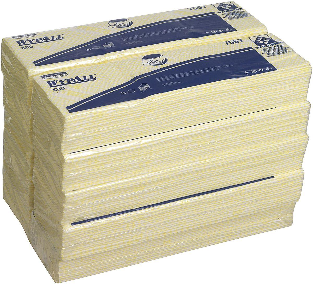 Салфетки для уборки Wypall Х80, цвет: желтый, белый, 10 упаковок х 25 шт7567Салфетки Wypall Х50, выполненные из целлюлозы и синтетики, предназначены для многоразового использования, изготовленные по технологии HYDROKNIT®. Изделия обладают отличной впитывающей способностью, долговечностью и прочностью, как в сухом, так и во влажном состоянии. Салфетки Wypall Х50 - идеальное решение для гигиеничной уборки в туалетных комнатах, клинических помещениях и палатах пациентов, на кухнях и участках приготовления пищи. Салфетки допускают стирку и повторное использование, что уменьшает объем отходов и сокращает эксплуатационные затраты.Количество упаковок: 10 шт.Количество салфеток в 1 упаковке: 25 шт.
