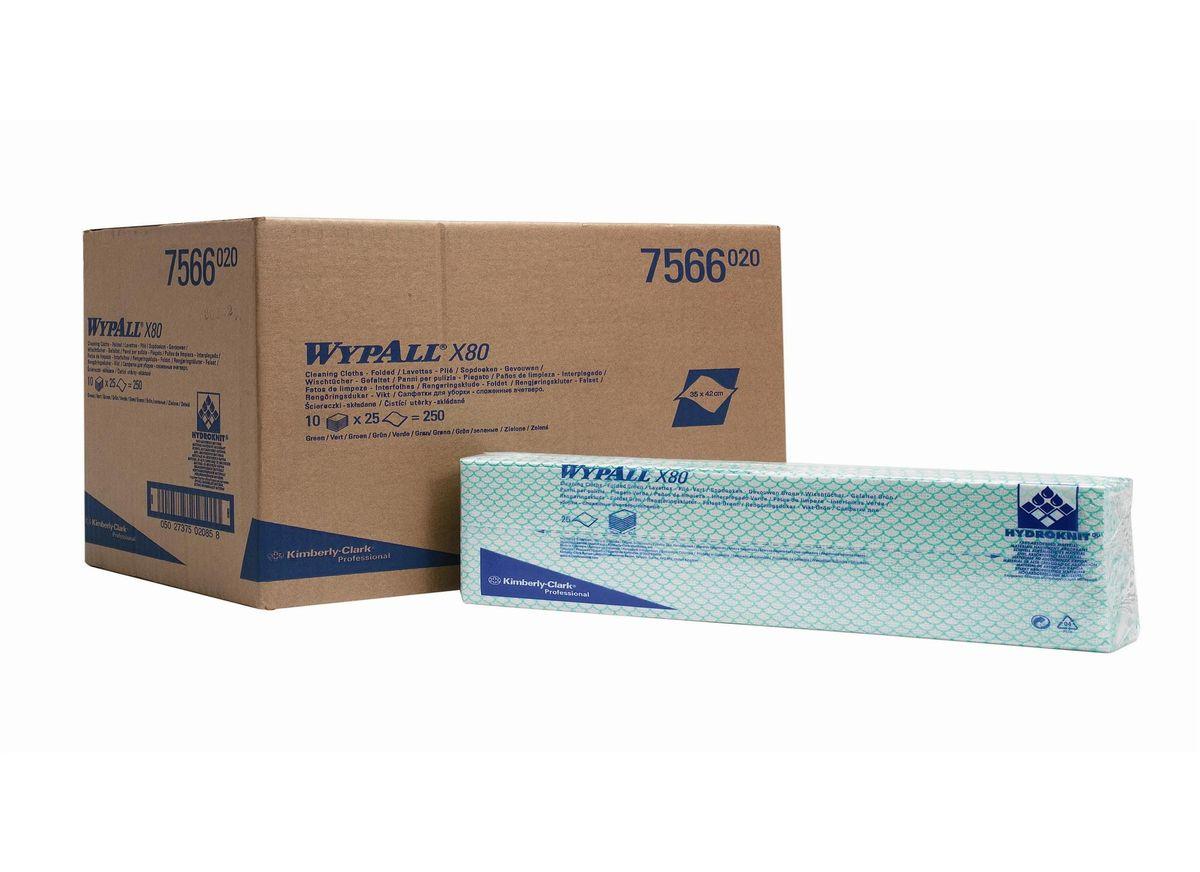 Салфетки для уборки Wypall Х80, цвет: зеленый, белый, 10 упаковок х 25 шт7566Салфетки Wypall Х50, выполненные из целлюлозы и синтетики, предназначены для многоразового использования, изготовленные по технологии HYDROKNIT®. Изделия обладают отличной впитывающей способностью, долговечностью и прочностью, как в сухом, так и во влажном состоянии. Салфетки Wypall Х50 - идеальное решение для гигиеничной уборки в туалетных комнатах, клинических помещениях и палатах пациентов, на кухнях и участках приготовления пищи. Салфетки допускают стирку и повторное использование, что уменьшает объем отходов и сокращает эксплуатационные затраты.Количество упаковок: 10 шт.Количество салфеток в 1 упаковке: 25 шт.