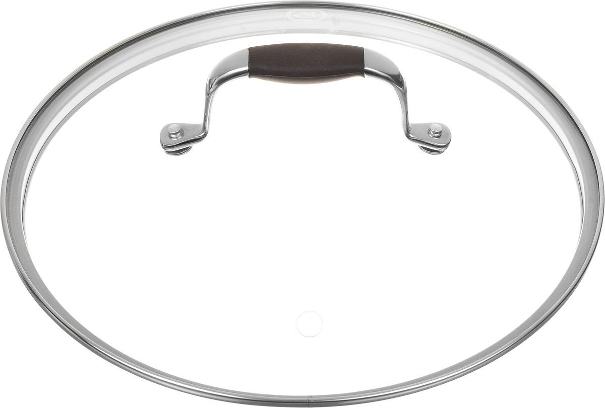 """Крышка Rondell """"Mocco"""", изготовленная из закаленного стекла, позволяет контролировать процесс приготовления без потери тепла. Ободок из нержавеющей стали предотвращает сколы на стекле. Крышка оснащена отверстием для паровыпуска. Нескользящая ручка выполнена из нержавеющей стали с вставкой из силикона.    Крышку можно мыть в посудомоечной машине. Не подходит для использования в духовке.   Характеристики:  Материал: стекло, нержавеющая сталь, силикон. Диаметр крышки: 24 см.   Посуда """"Rondell"""" совсем недавно появилась на российском рынке, но уже прекрасно себя зарекомендовала. Эту посуду по достоинству оценили тысячи любителей кулинарии, а рекомендации профессионалов - шеф-поваров многих ресторанов и ведущих популярных кулинарных программ служат дополнительным весомым аргументом в ее пользу. Профессиональные технологии, изысканный дизайн и широкий ассортимент делают посуду """"Rondell"""" исключительно привлекательной для всех, кто любит и умеет готовить."""