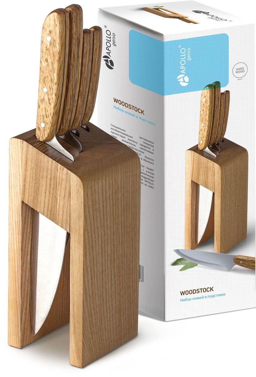 Набор ножей с деревянной рукояткой и деревянной подставкой - 4 ножа с подставкой.  Ножи: поварской, 19 см; кухонный, 13 см; для нарезки, 12 см; овощной, 8 см.  Специально разработанная форма подставки из традиционного для России дерева – сосны. Открытый вид подставки не позволяет влаге на ножах оставаться в подставке, тем самым предотвращает развитие бактерий. Ножи в подставке не соприкасаются друг с другом, а также с деревом подставки, и их лезвия остаются острыми намного дольше. Фактуру дерева подчеркивает особый способ обработки – браширование.  Серрейторная заточка ножа для нарезки позволяет аккуратно и уверенно нарезать и томаты, и цитрусовые, и даже хлебные изделия небольших размеров.  Материал рукоятки и подставки: дерево – сосна.  Материал лезвия ножей: нержавеющая сталь.