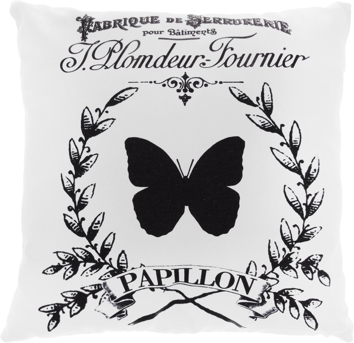 Подушка декоративная Proffi Винтаж. Papillon, цвет: белый, черный, 43 х 43 см proffi films pfm021