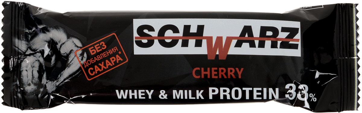 Schwarz Батончик со вкусом Вишня с высоким содержанием протеина 33%, 50 г bodybar батончик протеиновый 22% со вкусом крем брюле в горьком шоколаде 50 г
