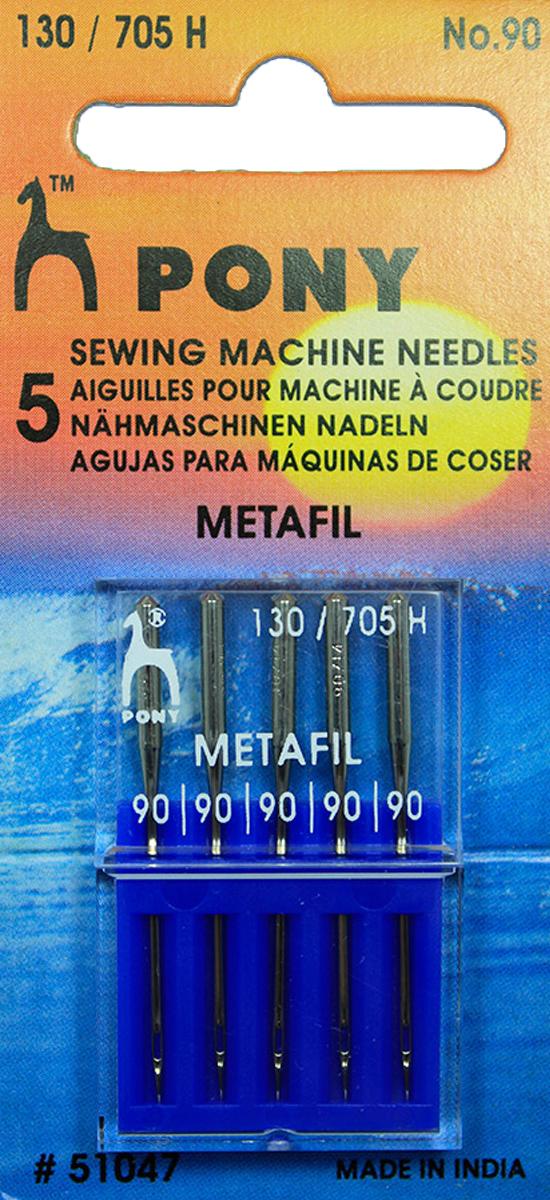 Иглы машинные Pony, для металлизированных и вискозных нитей, №90, 5 шт longxing glosen b016 3 алюминиевый комплект двойной помощи 16 дюймов семейной медицины шкаф хранения коробка