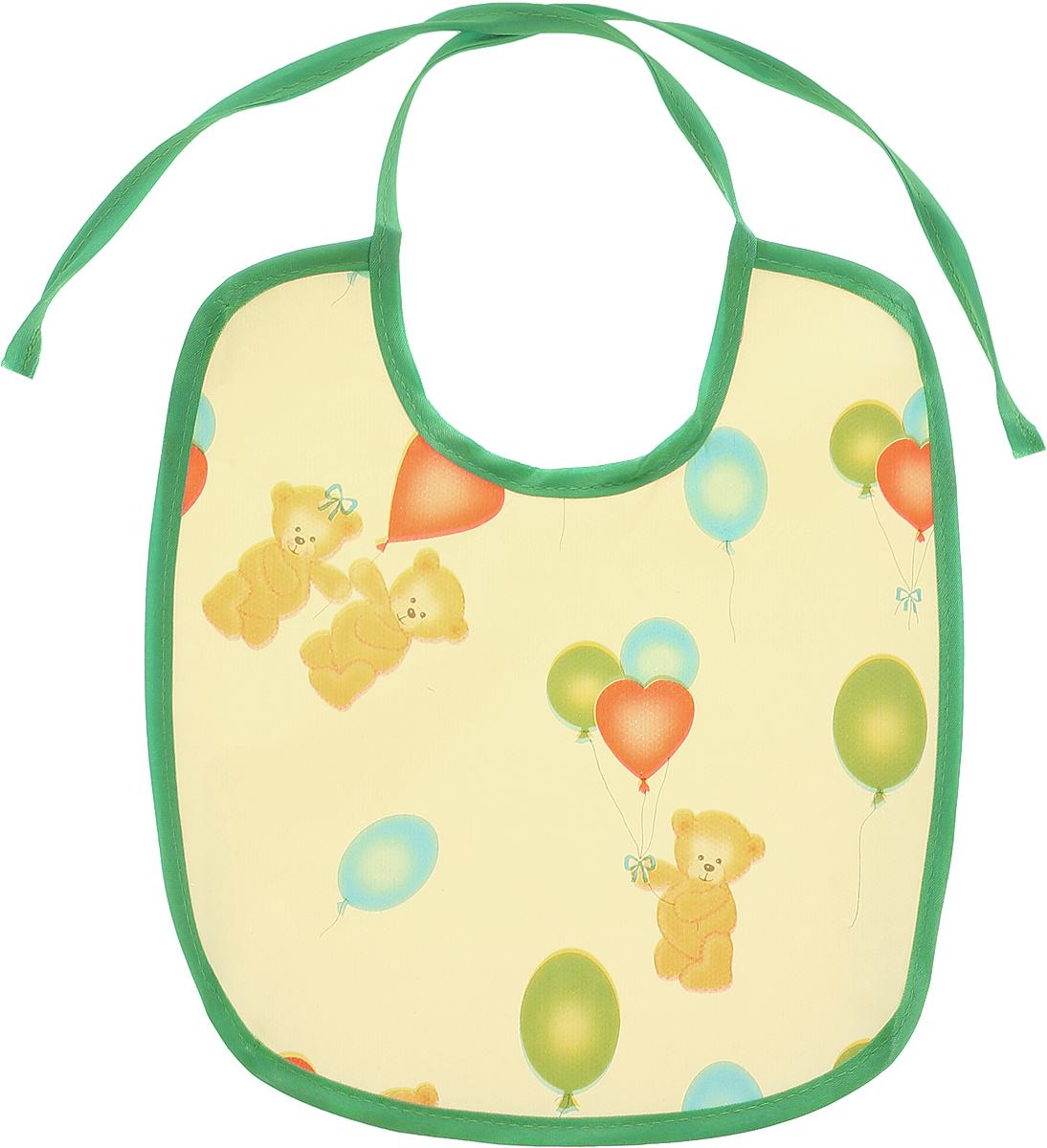 Колорит Нагрудник Мишки с шариками цвет желтый зеленый 20 см х 22 см