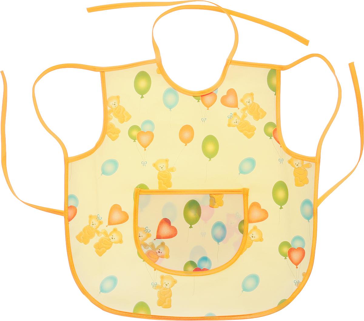 Колорит Фартук защитный Мишки с шариками цвет желтый оранжевый 36 см х 36 см