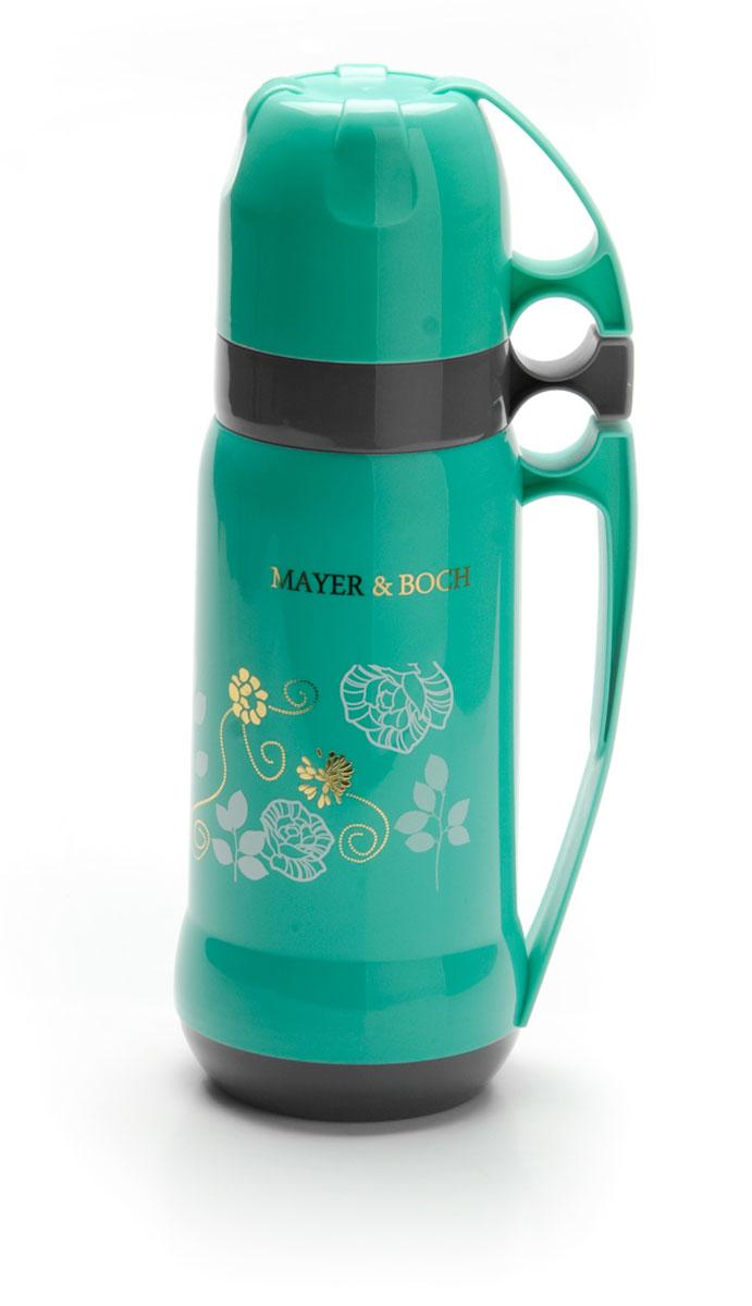 """Термос """"Mayer & Boch"""" с цветным пластиковым корпусом и стеклянной внутренней колбой, является самым востребованным. По своим теплообменным характеристикам термос со стеклянной колбой не уступает термосам со стальными колбами, но благодаря свойствам стекла, в него можно наливать напитки с сильными, устойчивыми ароматами. Термос оснащен большой удобной ручкой и 2-мя пластиковыми кружками. Завинчивающаяся герметичная крышка предохраняет от проливаний. Термос способен сохранять необходимую температуру до 24-х часов. Легко и просто моется.Термос """"Mayer & Boch"""" пригодится в походе, поездке, на рыбалке.Диаметр горлышка: 5,5 см. Высота термоса: 34 см. Объем: 1 л."""