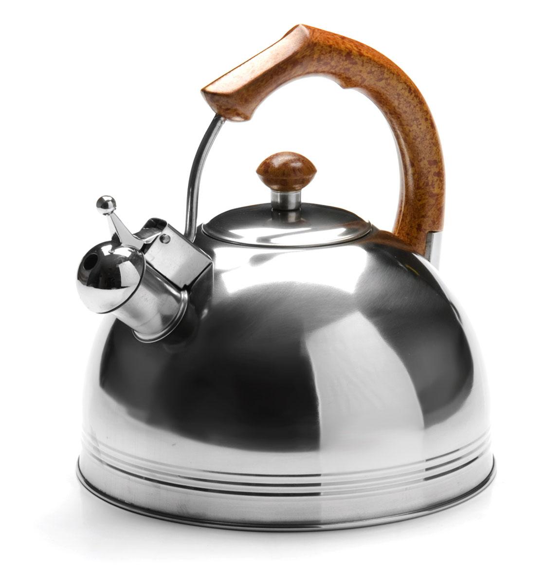 Чайник Mayer & Boch, со свистком, 4 л. 2616726167Чайник изготовлен из высококачественной нержавеющей стали. Изделия из нержавеющей стали не окисляются и не впитывают запахи, благодаря чему вы всегда получите натуральный, насыщенный вкус и аромат напитков. Капсулированное дно с прослойкой из алюминия обеспечивает наилучшее распределение тепла. Эргономичная фиксированная ручка выполнена из нержавеющей стали и бакелита и стилизована под дерево. Носик чайника оснащен насадкой-свистком, который позволяет контролировать процесс кипячения или подогрева воды. Поверхность чайника гладкая, что облегчает уход за ним. Подходит для использования на всех типах плит, кроме индукционных. Подходит для мытья в посудомоечной машине.Объем чайника: 4 литра.