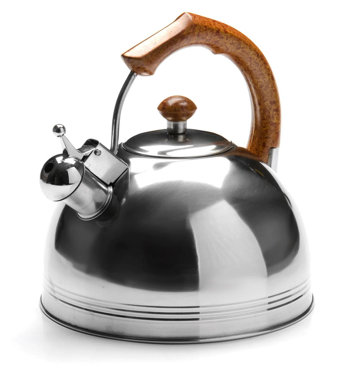 Чайник Mayer & Boch, со свистком, 4,8 л. 2616926169Чайник изготовлен из высококачественной нержавеющей стали. Изделия из нержавеющей стали не окисляются и не впитывают запахи,благодаря чему вы всегда получите натуральный, насыщенный вкус и аромат напитков.Капсулированное дно с прослойкой из алюминия обеспечивает наилучшее распределение тепла.Эргономичная фиксированная ручка выполнена из нержавеющей стали и бакелита и стилизована под дерево.Носик чайника оснащен насадкой-свистком, который позволяет контролировать процесс кипячения или подогрева воды.Поверхность чайника гладкая, что облегчает уход за ним.Подходит для использования на всех типах плит, кроме индукционных. Подходит для мытья в посудомоечной машине.Объем чайника: 4,8 л.