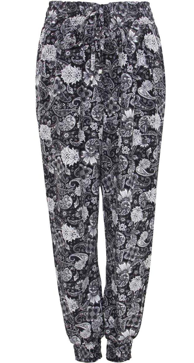 Брюки женские oodji Collection, цвет: черный, белый. 21700055-3/35184/2910E. Размер 40-170 (46-170)