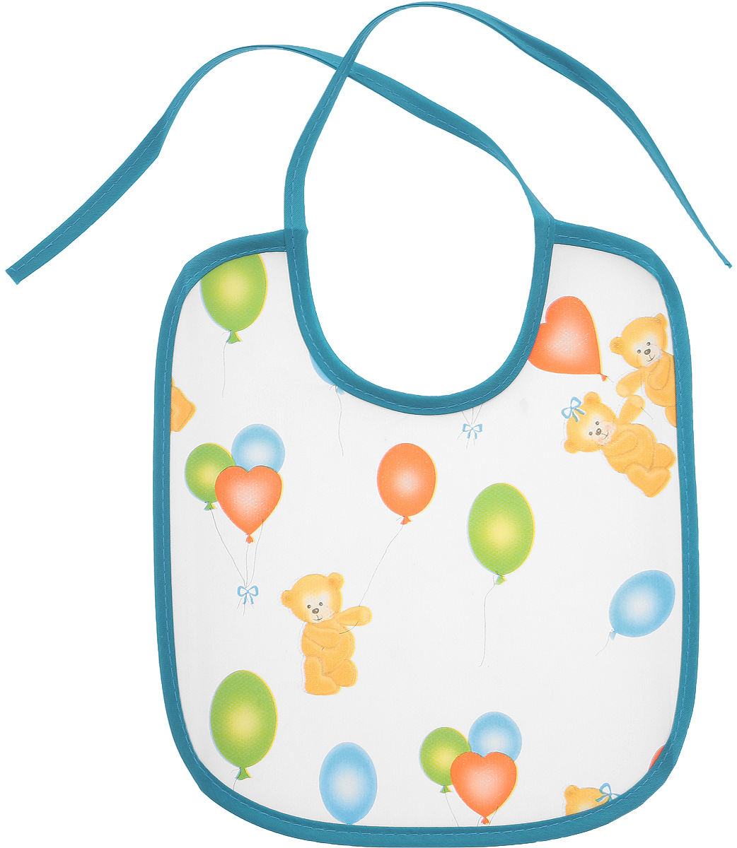 Колорит Нагрудник Мишки с шариками цвет белый бирюзовый 20 см х 22 см -  Все для детского кормления