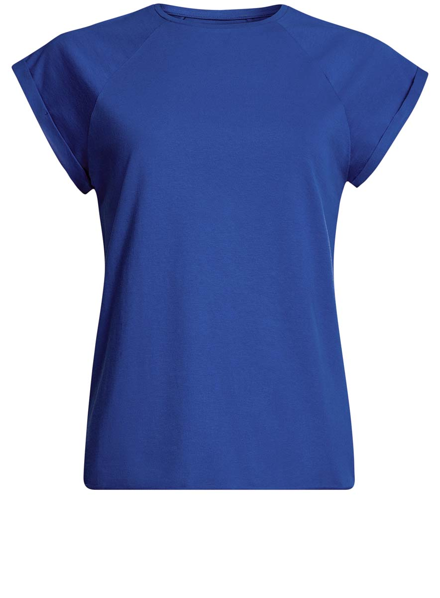 Футболка женская oodji Ultra, цвет: синий. 14707001-4B/46154/7502N. Размер XS (42)14707001-4B/46154/7502NЖенская футболка выполнена из хлопка. Модель с круглым вырезом горловины и короткими рукавами реглан, дополненными отворотом.