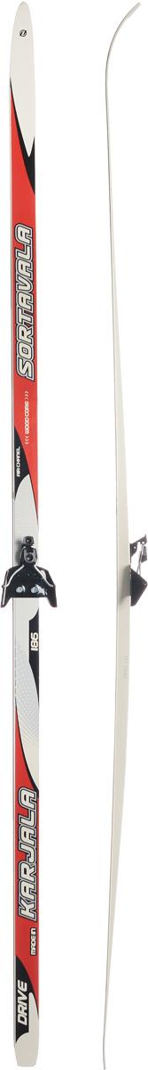 Лыжи беговые Karjala Sortavala Wax, с креплением 75 мм, цвет: красный, белый, рост 186 см лыжи беговые tisa top universal с креплением цвет желтый белый черный рост 182 см