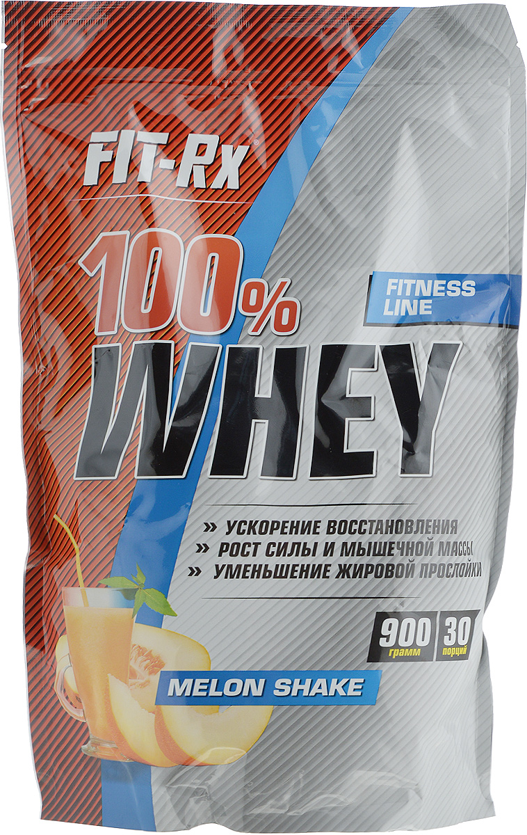 Концентрат напитка сухойFIT-Rx Белковый коктейль 100% Whey, со вкусом дынного шейка, 900 гFR 100% Whey - 100% Вей дынный шейк (900г)Сухой концентрат напиткаFIT-Rx Белковый коктейль 100% Whey - это сывороточный протеин и пищевые волокна. Сывороточный протеин занимает первое место по популярности среди всех видов протеинов. Основные достоинства «сыворотки» заключаются в лучшем среди всех животных протеинов аминокислот составе и максимальной скорости усвоения. Во всех ситуациях, когда организму срочно нужен высокий уровень аминокислот в крови, например, после длительного периода без пищи, перед или после физических нагрузок, сывороточный протеин будет лучшим выбором. Кроме того, высокая скорость усвоения обеспечивает и максимально высокую концентрацию аминокислот в крови и, следовательно, в мышечных волокнах. В мышечных волокнах существуют так называемые сигнальные системы обеспечивающие интенсификацию синтеза белков на рибосомах, а также увеличение количества мышечных ядер. Одним из факторов активации данной системы является избыток аминокислот в мышечной клетке, а создать такой избыток можно лишь приемом протеина с высокой скоростью абсорбции. Поэтому в многочисленных исследованиях связанных с измерением зависимости синтеза мышечных белков от приема того или иного вида протеина, сывороточный проявляет себя как безусловный лидер. Другим фактором, влияющим на это, является самое высокое среди всех остальных видов белка, содержанием аминокислот ВСАА в белковой молекуле.Пищевые волокна, входящие в состав, призваны улучшить работу кишечника, в котором, как известно, происходит переваривание и всасывание всех питательных веществ, снабдить полезную микрофлору естественным для них кормом, которым и являются пищевые волокна, а кроме того сделать продукт более сытным. Наличие пищевых волокон позволяет применять продукт в качестве заменителя пищи.Состав: сывороточный белок, кофе растворимый, пищевые волокна, лецитин (эмульгатор), гуаровая камедь, ксантановая камедь, ароматизато