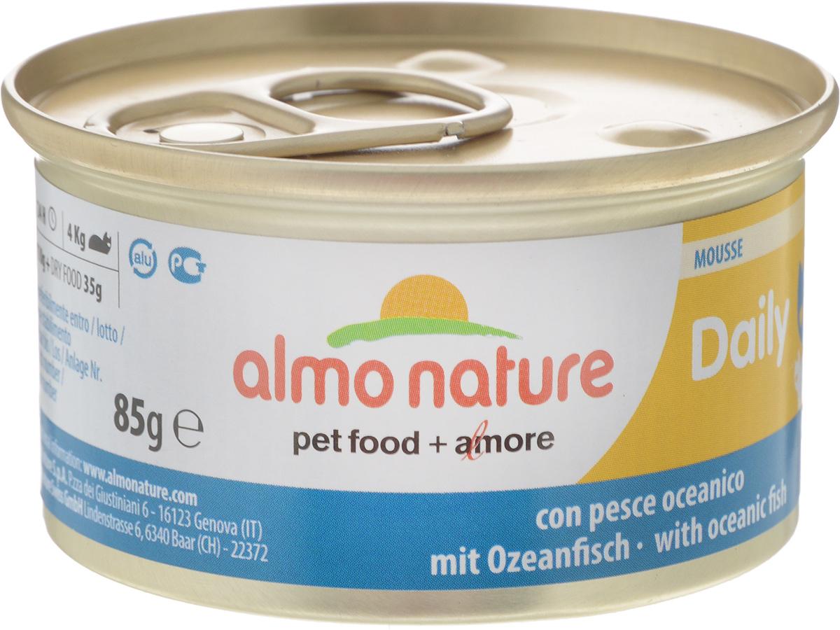 Консервы Almo Nature для кошек, с океанической рыбой, 85 г24065Консервы для кошек Almo Nature сохраняют свежесть каждого кусочка. Корм изготовлен только из свежих высококачественных натуральных ингредиентов, что обеспечивает здоровье вашей кошки. Не содержит ГМО, антибиотиков, химических добавок, консервантов и красителей.Состав: мясо, рыба (14% океанической рыбы), минералы, растительные волокна.Пищевые добавки: витамин А 1110 МЕ/кг, витамин D3 140 МЕ/кг, витамин Е 10 мг/кг, таурин 490 мг, Сульфат меди пентагидрат 4,4 мг/кг, камедь кассии - 3 г/кг.Товар сертифицирован.