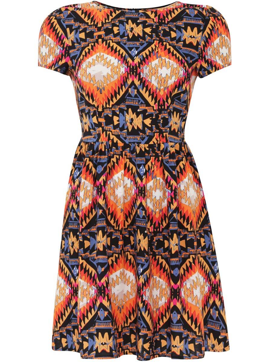 Платье oodji Ultra, цвет: черный, темно-оранжевый, голубой. 11900191/26346/2959E. Размер 36-170 (42-170)11900191/26346/2959EПлатье oodji Ultra изготовлено из качественной вискозы. Модель застегивается сзади на молнию. Платье с круглым вырезом и короткими рукавами оформлено оригинальным принтом. По бокам платье дополнено текстильными завязками.