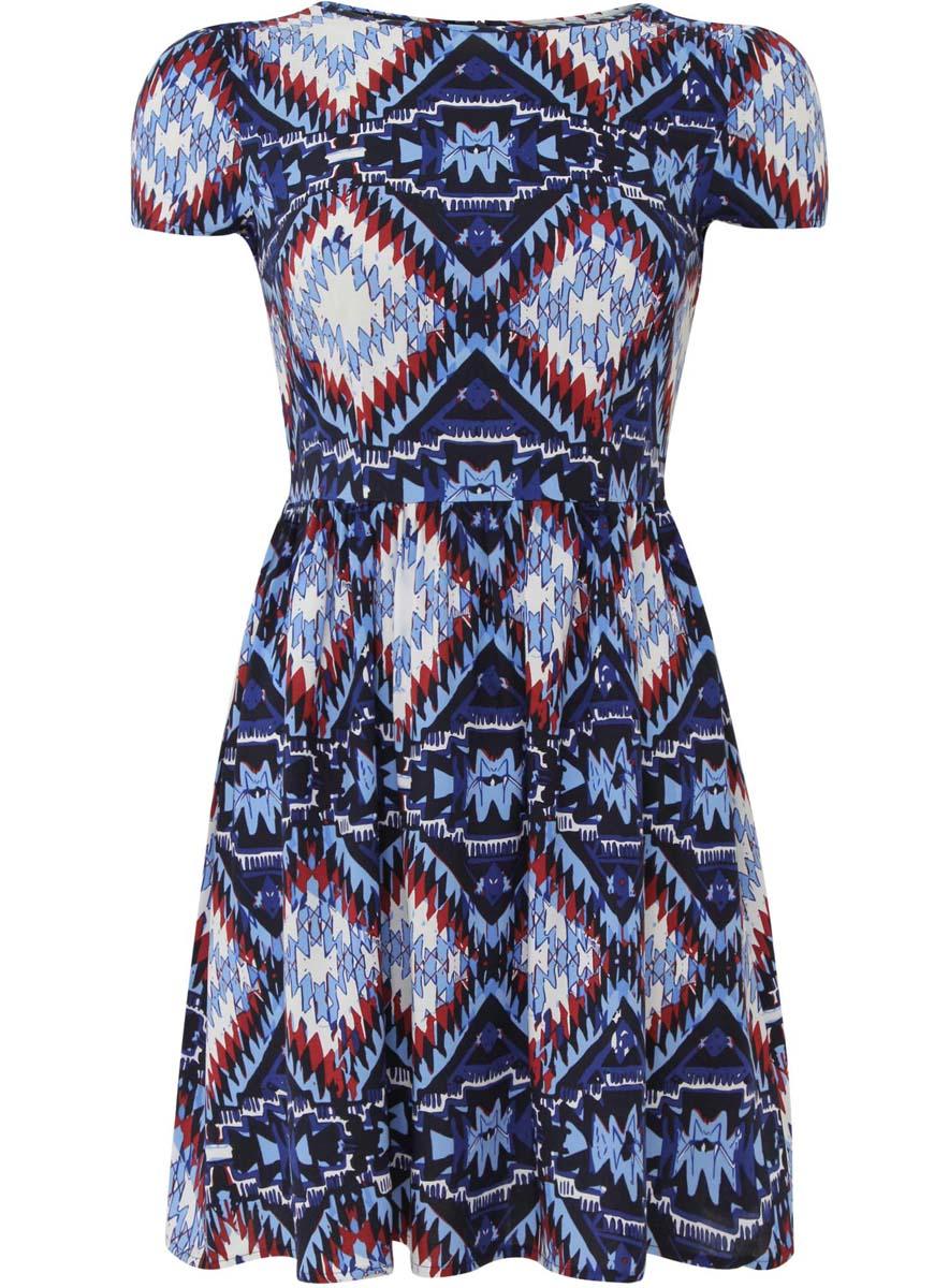 Платье oodji Ultra, цвет: темно-синий, голубой, белый. 11900191/26346/7970E. Размер 36-170 (42-170)11900191/26346/7970EПлатье oodji Ultra изготовлено из качественной вискозы. Модель застегивается сзади на молнию. Платье с круглым вырезом и короткими рукавами оформлено оригинальным принтом. По бокам платье дополнено текстильными завязками.
