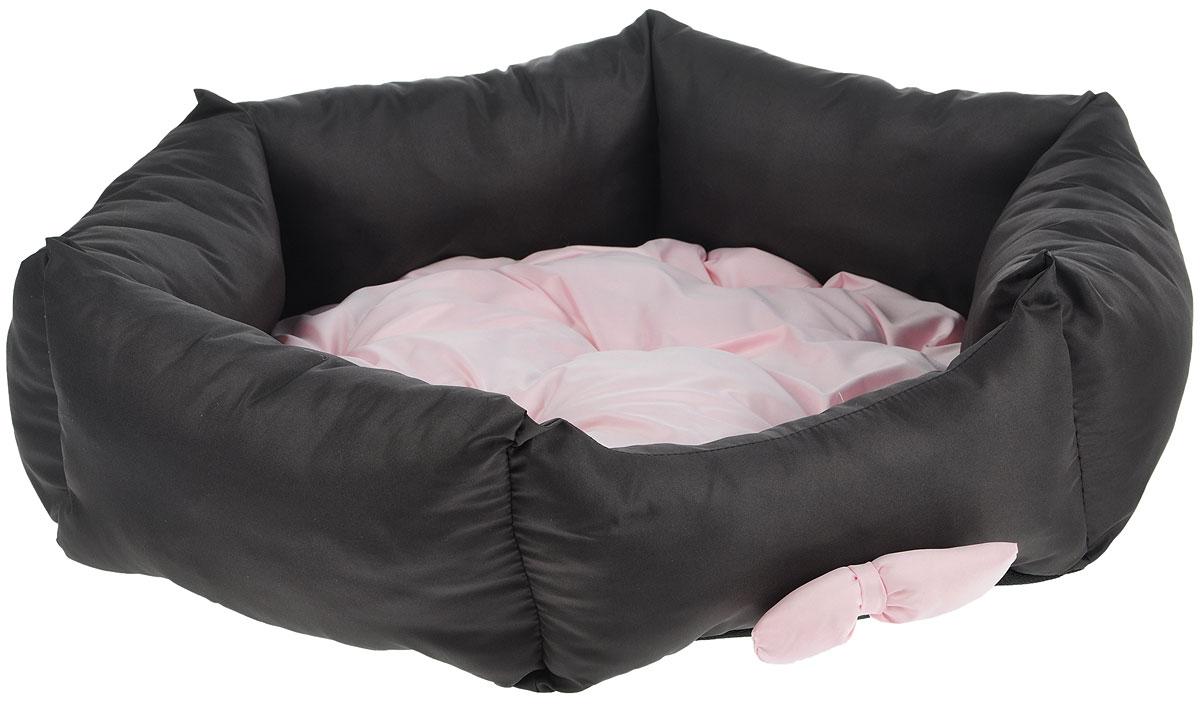 Лежанка для собак Lion Manufactory Комфорт, цвет: коричневый, светло-розовый, 52 х 53 х 14 см