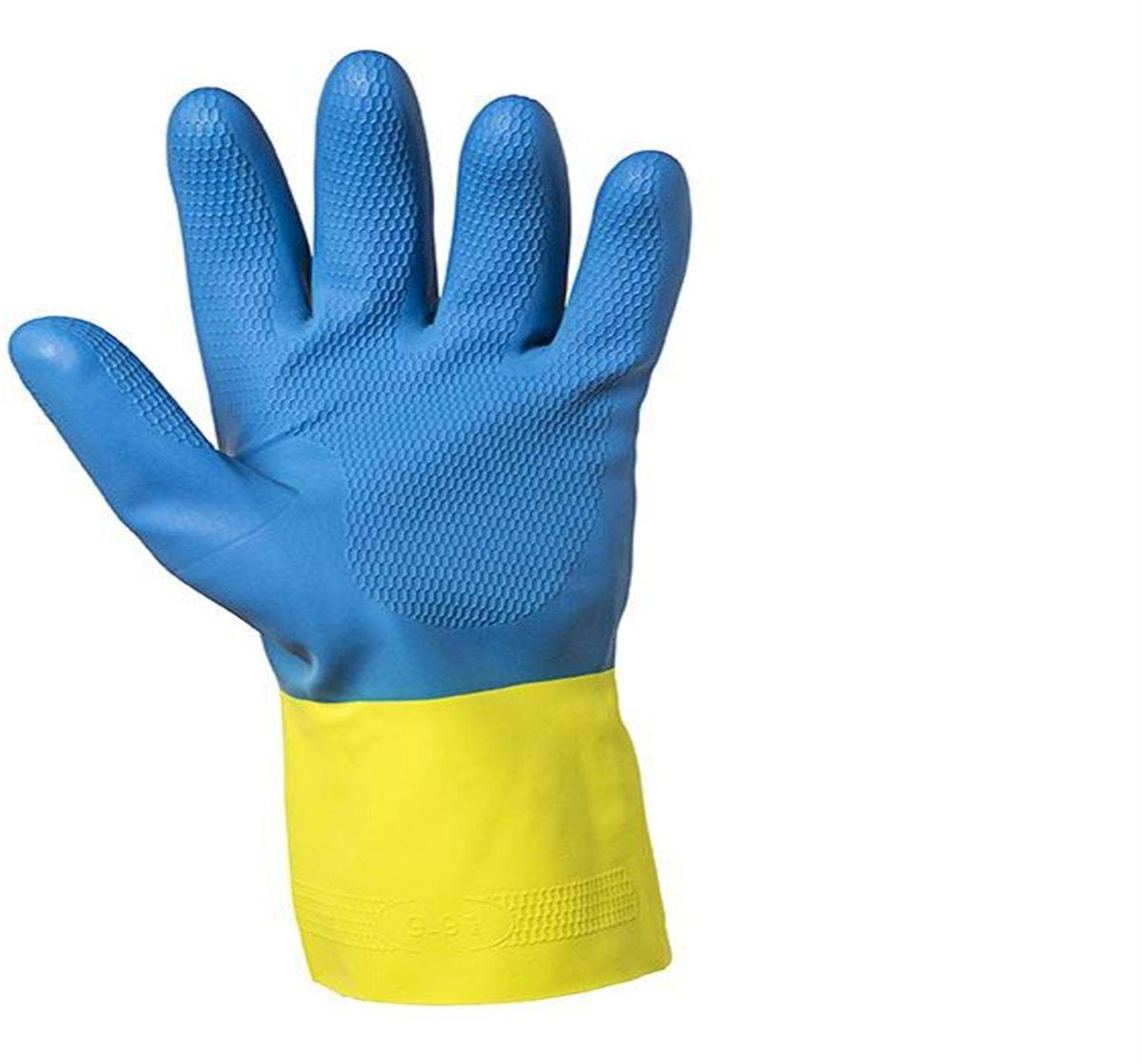 Перчатки хозяйственные Jackson Safety G80, размер 10 (XL), цвет: желтый, голубой, 60 пар38744Защитные перчатки JACKSON SAFETY® G80 латекс/неопрен для защиты от химических веществ подходят для целого спектра областей применения: обеспечивают надежную защиту от воздействия химических веществ. Относятся к СИЗ категории III (CE Complex), а также обеспечивают защиту от механического воздействия в тех областях, где работают с химическими веществами, маслами, густыми смазками, кислотами, каустическими средствами или растворителями. Разрешен контакт с пищевыми продуктами. Поставляются в виде пары перчаток с индивидуальным дизайном для левой и правой руки; толщина 0,70 мм; имеют неопреновое покрытие поверх латекса для обеспечения максимальной защиты, а также для улучшения гибкости материала. Удлиненные манжеты, текстурированный материал в области ладони обеспечивает отличный захват при работе сухими/влажными поверхностями; хлопковое напыление на внутренней стороне перчатки обеспечивает легкость при надевании/снятии перчатки, а также комфорт при длительном использовании. Хлорированы для снижения воздействия латексных протеинов на кожу.Размеры:38741 - S (7)38742 - M (8)38743 - L (9)38744 - XL (10)