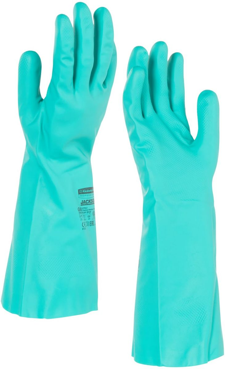 Перчатки хозяйственные Jackson Safety G80, размер 8 (M), цвет: зеленый, 60 пар94446Ассортимент перчаток для защиты рук от химических веществ и механических воздействий - повышают безопасность работ и сокращают затраты. Нитриловые перчатки длиной 33 см являются СИЗ категории III (CE Complex), применяются в различных отраслях промышленности: нефтехимической, авиационной, автомобильной, металлообрабатывающей, пищевой, а также в машиностроении, - для работы с химическими веществами, маслами, смазками, спиртами, кислотами, растворителями, обеспечивая возможность погружения руки в перчатке в химические жидкости. Обладают высокой стойкостью к истиранию (4 - EN 388). Внутренняя сторона перчатки обработана специальным хлопковым напылением, которое позволяет легко надевать и снимать перчатки. Допустимы к применению в пищевой промышленности.Формат поставки: пара не содержащих латекс перчаток; индивидуальный дизайн для левой и правой руки; специальный рельеф наконечников пальцев обеспечивает отличный захват в сухом и влажном состоянии; флокированный внутренний слой облегчает надевание и повышает комфорт при длительном ношении.Размеры:94445 - 7 (S)94446 - 8 (M)94447 - 9 (L)94448 - 10 (XL)94449 - 11 (XXL)