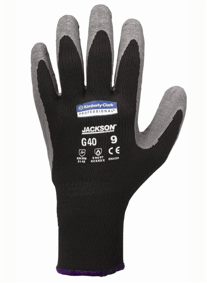 Перчатки хозяйственные Jackson Safety G40, размер 8 (M), цвет: серый, черный, 60 пар97271Ассортимент перчаток для защиты рук от механических воздействий – повышают безопасность труда и сокращают затраты. Идеальное решение, обеспечивающее защиту СИЗ категории II (CE Intermediate) при выполнении операций на производственных участках, в машиностроении, строительстве и любых других универсальных работах. 2-й уровень стойкости к истиранию (согласно EN 388). Ввиду высокой стойкости к разрыву данный вид перчаток имеет длительный срок службы. Бесшовная вязаная структура из полиэстера обеспечивает воздухопроницаемость и комфорт во время использования перчаток. Благодаря сочетанию механической и термической защиты данные перчатки являются востребованными в различных областях применения. Надежный захват благодаря текстурированному латексному покрытию.Формат поставки: перчатки с индивидуальным дизайном для левой и правой руки; пять размеров с цветовой кодировкой манжет; гладкое нитриловое покрытие ладони обеспечивает превосходный сухой захват; тыльная часть из бесшовного вязаного нейлона для воздухопроницаемости и комфорта.Размеры:97270 - 7 (S)97271 - 8 (M)97272 - 9 (L)97273 - 10 (XL)97274 - 11 (XXL)