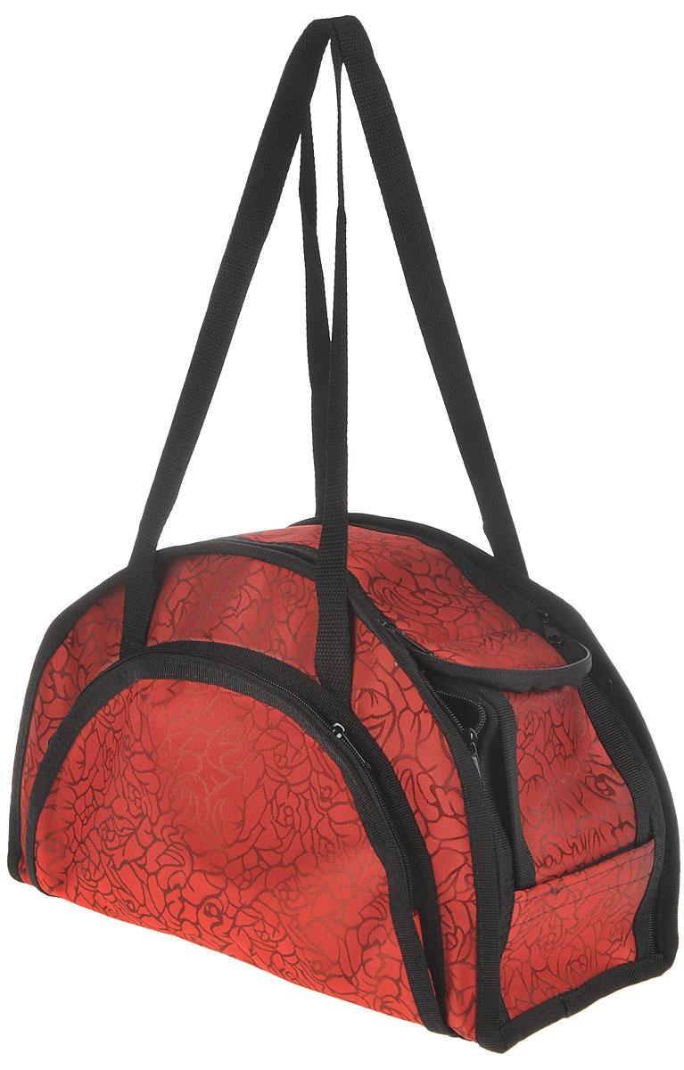 Сумка-переноска для животных Elite Valley, модельная, складная, цвет: красный, черный, 36 х 15 х 23 смС-13_розы на красномМодельная сумка-переноска Elite Valley для собак мелких пород и кошек имеет твердое съемное основание, которые не позволяет животному провисать. Изделие выполнено из плотного материала и текстиля, а также имеет сборную-разборную конструкцию. Закрывается при помощи застежки-молнии. С внешней стороны имеется удобный карман, который также закрывается на молнию. Сумка снабжена карманом и специальной сетчатой вставкой, которая закрывается на липучку.Для удобной переноски имеется две ручки. При необходимости сумка складывается и фиксируется липучкой. Сумка-переноска Elite Valley обязательно понравится вашим домашним любимцам и сделает любую поездку наиболее комфортной.