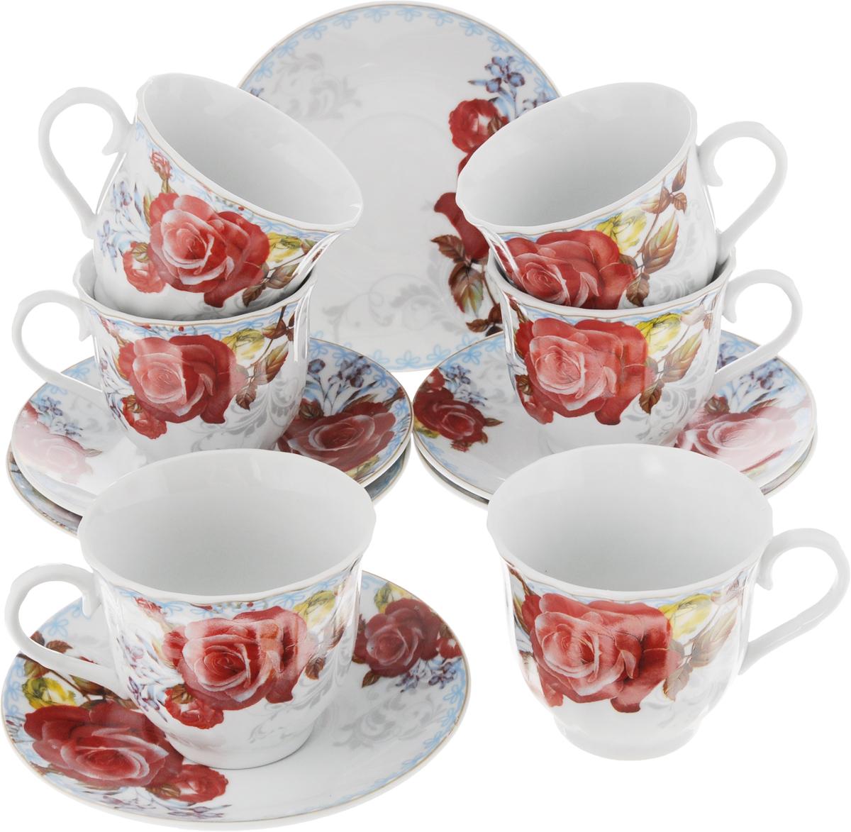 Набор чайный Bella, 12 предметов. DL-RF6-188DL-RF6-188Чайный набор Bella состоит из 6 чашек и 6 блюдец, изготовленных из высококачественного фарфора. Такой набор прекрасно дополнит сервировку стола к чаепитию, а также станет замечательным подарком для ваших друзей и близких. Объем чашки: 220 мл. Диаметр чашки (по верхнему краю): 8 см. Высота чашки: 7 см. Диаметр блюдца: 14 см.Высота блюдца: 2 см.