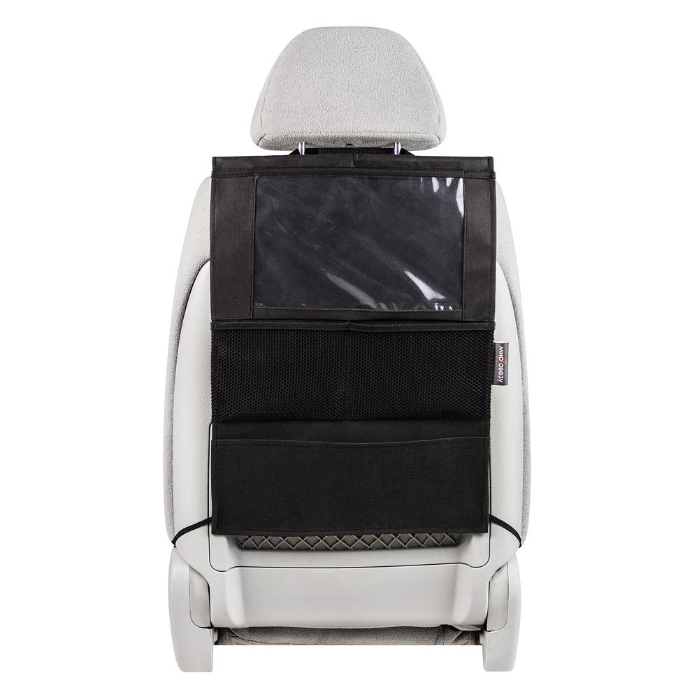 Органайзер Много Везу, на спинку сиденья, для планшета, 52 х 37 см. М 112М 112Удобный и вместительный органайзер помогает компактно разместить множество различных вещей в салоне автомобиля. Отделение для планшета сделано из специальной пленки, которая позволит управлять гаджетом не вынимая его. Жесткий верхний каркас позволяет всегда держать форму органайзера, а универсальный размер подойдет на сиденье любого автомобиля. Крепится на сиденье при помощи хлястиков с липучками. Имеет 4 кармана. Размеры: 37 х 52 см. Материал: спанбонд (плотность 100 гр/м2), прочная сетка, плёнка ПВХ
