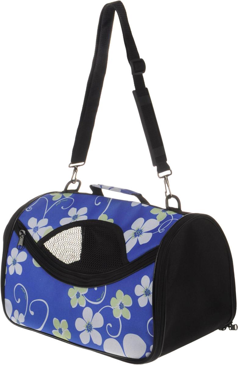 Сумка-переноска для животных Elite Valley  Цветы , складная, цвет: черный, голубой, белый, 41 х 23 х 22 см - Переноски, товары для транспортировки