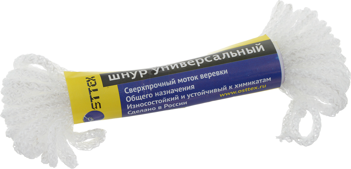 Шнур универсальный Osttex, без сердечника, диаметр 3 мм, длина 10 мшбс3-10бШнур универсальный Osttex - это сверхпрочная вязаная веревка общего назначения, которая отличается износостойкостью, водонепроницаемостью и устойчивостью к химикатам. Шнур изготовлен из полипропиленовой мультифиламентной нити без внутреннего наполнителя, поэтому выдерживает меньший вес по сравнению с другими шнурами. Диаметр: 3 мм. Длина: 10 м. Разрывная нагрузка: 35 кг.