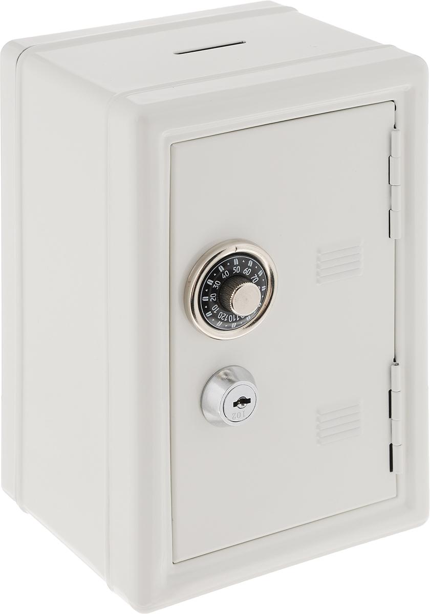 Копилка-сейф Эврика, с ключами, цвет: белый92832Копилка-сейф Эврика с двумя замками позволит вам скопить приличную сумму на поездку, например. Замок-щеколда открывается поворотом ручки до характерного щелчка. Под ним расположен замок, к которому прилагается комплект из двух ключей. Внутри содержатся два отделения - для хранения бумаг и выдвижной пластиковый ящик для мелочи. Сверху расположен слот для монет. Такая копилка станет приятным и практичным подарком, который поможет надежно хранить ценные вещи и деньги. Рекомендуется хранить запасной ключ отдельно, на случай утраты основного.