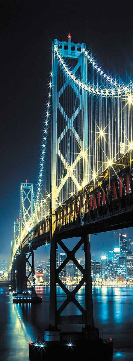 Фотообои Milan Ночной мост, текстурные, 100 х 270 см