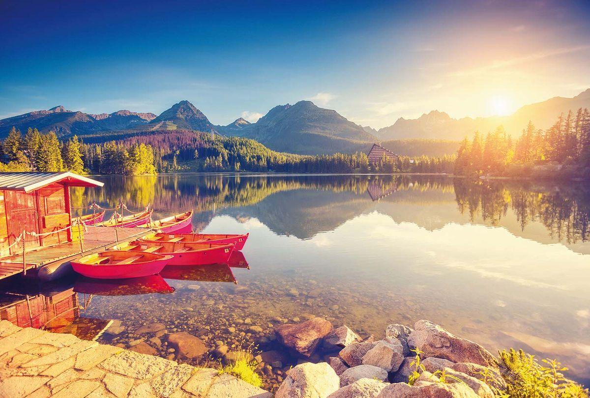 Фотообои Milan Рассвет на горном озере, текстурные, 400 х 270 см. M 409