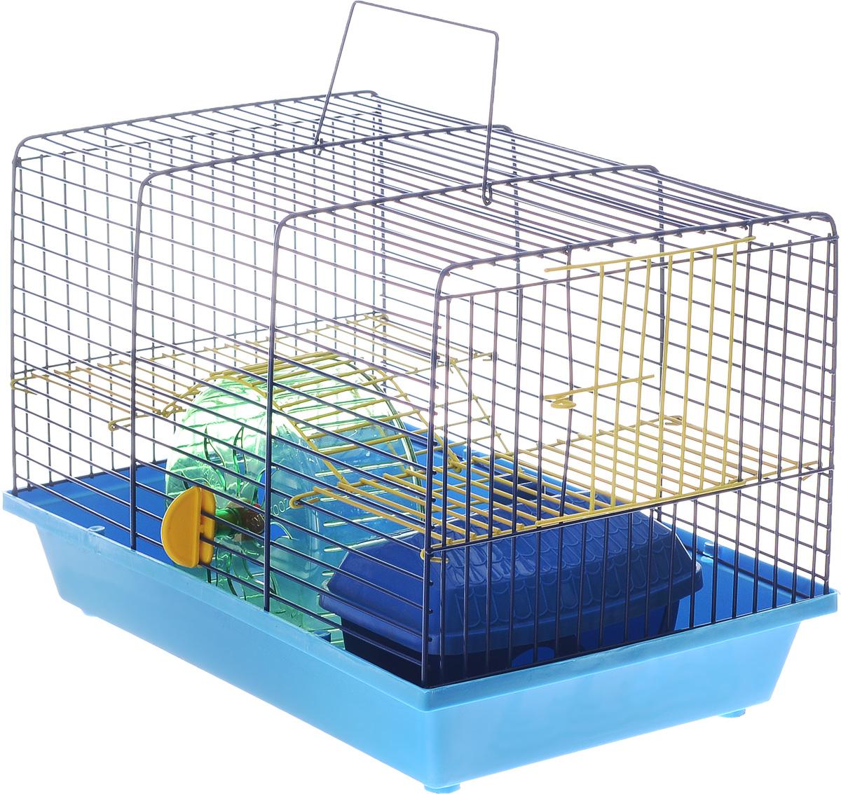 Клетка для грызунов Зоомарк  Венеция , 2-этажная, цвет: синий поддон, синяя решетка, желтый этаж, 36 х 23 х 24 см - Клетки, вольеры, будки